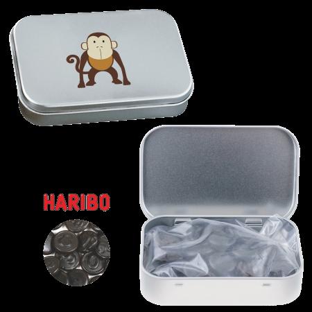 Scharnierblik met ca. 60 gr. Haribo dropgeld