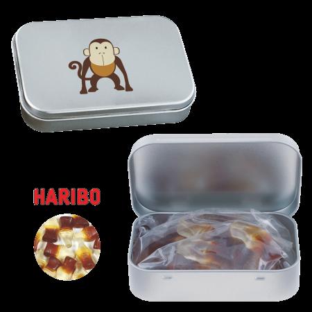 Scharnierblik met ca. 60 gr. Haribo colaflesjes