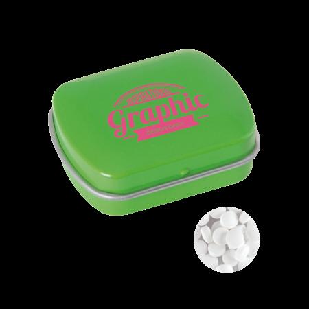 Klein blik met ca. 10 gr. extra strong suikervrije `triangle` mints