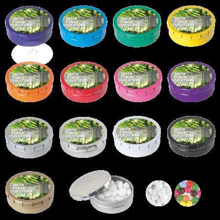 Rond click clack blik 45 mm met 12 gr. mintjes DIGITAAL tot full colour