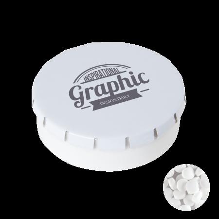 Super click clack 45 mm met ca. 12 gr. suikervrije mintjes TAMPONPRINT