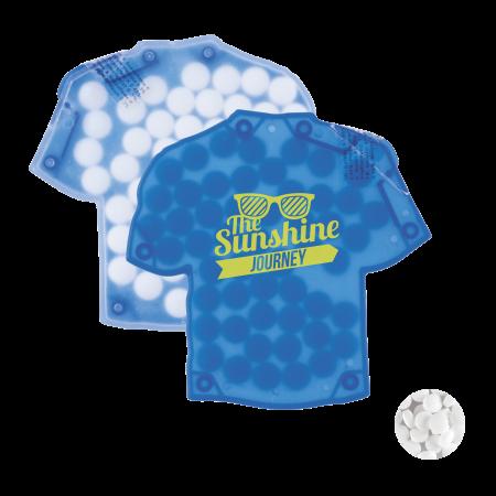 T-shirt mintdispenser duo met ca. 8 gr. mintjes en ingredienten label TAMPONDRUK