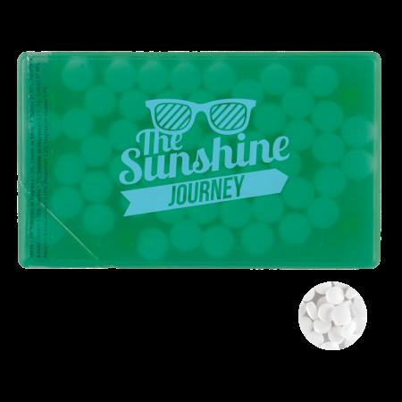 Creditcard mintdispenser met ca. 8 gr. mintjes en ingredienten label TAMPONDRUK