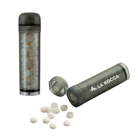 Mint tube met ca. 11 gr. mintjes en ingredienten label.