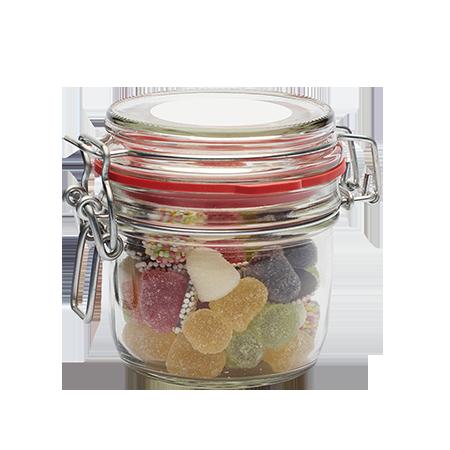 Glazen weckpotje 125 ml gevuld met snoep categorie BASIS