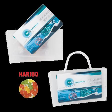 Mini visitekaart tasje transparant gevuld met Haribo gummiberen ONBEDRUKT