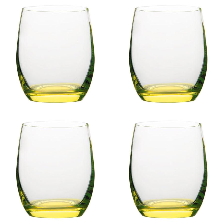 Vanilla Season HATTA set van 4 Bohemia Crystal glazen met gekleurde bodem